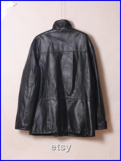 Men' leather jacket 80s distressed leather
