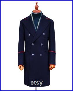 Men's Wool Military Style Double Breasted Top Coat (Made to Measure)