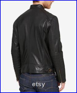 Men's and Boys 100 Real High Quality Lambskin Leather Motorcycle Biker Jacket Slim-fit, Long Sleeves