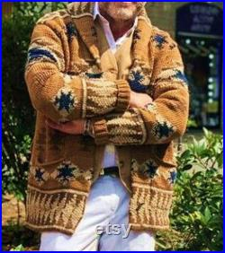 Men's coat wool jacket cardigan hand knit replica gift for man who have everything