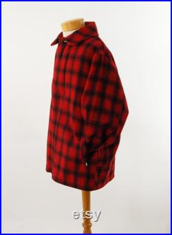 Men's red plaid coat by Woolrich 1960s Buffalo plaid overcoat Size 42 Size L