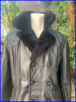 Mens 1970s Black Leather and Faux Fur Lined, Double Breasted Coat.