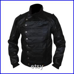 Mens Black Leather Jacket Hand Made Real Leather Top Stand Collar Jacket For Men Real Black Jacket Leather Vest 2 in 1 Style
