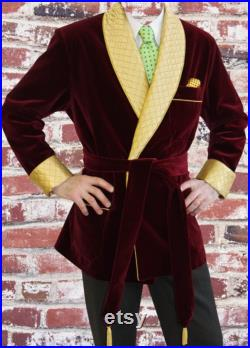 Mens Burgundy Robes Smoking Jacket Quilted Lapel Cuff Coats Christmas Dinner Party Wear Blazers Jacket For Men
