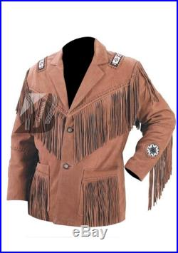 Mens Cowhide Leather Westren Jacket and Cowboy Fringe beads