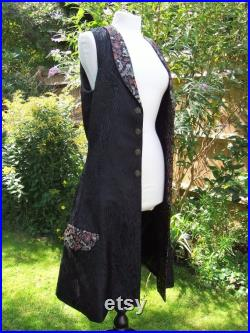 Mens Fitted 17th Century French Inspired Black Peacock and Red Gold Dragon Brocade Long Length Waistcoat