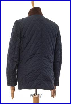 Mens HACKETT London Quilted Quilt Jacket Coat Navy Blue Size L