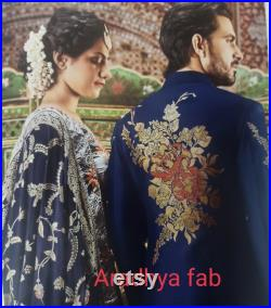 Mens Indian Latest Design For Blue color sherwani Groom Wedding Party Wear Engagement Function Occasion Ethnic Dress