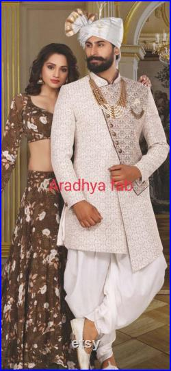 Mens Indian Latest Design For cream Indo Western Sherwani Groom Wedding Party Wear Engagement Function Occasion Ethnic Dress