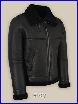 Mens Leather Jacket , Men Shearling Leather Jacket , Flight jacket ,Leather fur jacket , Black leather jacket , Dad gift , Personalized gift