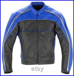 Mens Protected Armour Racing Pure Leather Motorcycle Blue Black Jacket S,M,L,XL