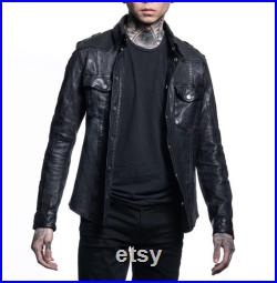 Mens Real Leather Full Sleeve Shirt Mens Leather Shirt Mens Shirt Casual Shirt Party Shirt -Gift for him Black Shirt-Leather shirt