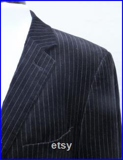 Mens Suit Chest 38 R ,Trousers 34 R Upcycled cotton velvet black and white striped tailcoat, nightmare Before Christmas Jack Skellington