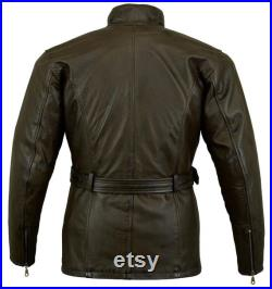 Mens Vintage Oily Soft Real Leather Military Biker racing Streetwear Coat Premium Quality leather