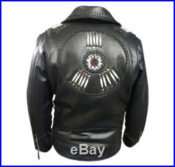 Mens Western Genuine Cow Hide Leather Jacket with Fringe, Bone and Beads