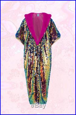 Mitosis Iridescent petrol Sequin Kimono, floor length, pink fur trim. Burning Man, Pool Party, Holiday, Party, alternative wedding outfit