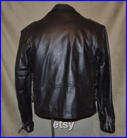Motorcycle Jacket, 1950's Style, Genuine Leather, Mens, Size 44, Biker, Rockabilly, Rocker, The Wild One, Bad Boy, Vintage Leather, Exc Cond
