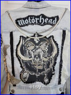 Motorhead Denim Jacket Everything Louder Than Everything Else Embellished with Beads Sequins Lace Chains Studs Faux Leather Vegan Repurposed