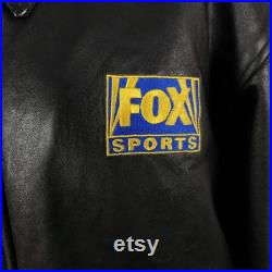 NFL FOX Sports Leather Bomber Jacket Vintage 90s Lambskin Made In USA Mens Size Medium