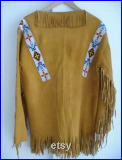 Native American Western Wear Suede Leather Jacket Fringes and Beads Work War Shirt