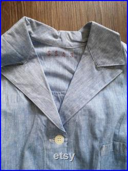 Og 40's 50s French army hospital chambray blouse Made in France Deadstock