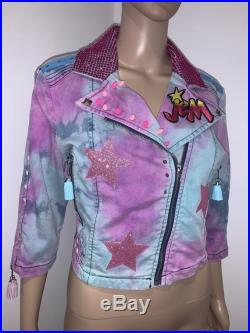 One Of A Kind 80s Inspired Pink Blue Tie Dye Jem and the Holograms Pastel studded Denim Jacket