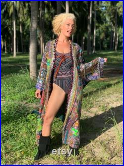 One of a Kind Hand Embroidered Dreamcoat Full Length Kimono Sparkling Long Coat Burning Man Coat for Men or Women