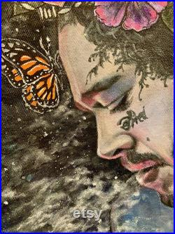 One of a Kind Hand Painted Post Malone Butterfly Floral Denim Jacket