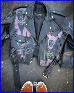One of a kind hand painted vintage 80s Wilson's of leather motorcycle gummo jacket