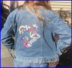 Original Hand painted Groovin design on Denim (this item is an example of my work that can be ordered, not for sale)