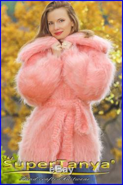 Outstanding unique fuzzy pink mohair cardigan with zipper by SuperTanya