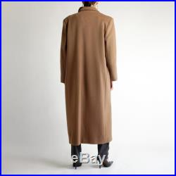 Oversized Maxi Coat, Light Brown Wool Overcoat, Vintage 90s Minimal Structured Double Breasted Long Baggy Neutral Simple Warm Winter Coat