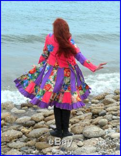 Painted Floral medium denim ragamuffin couture by Frankensweater upcycled recycled gypsy coat