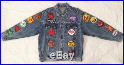 Patched Denim Patch Jacket Upcycled Custom Jacket Reworked Studded Vintage Acid Wash Jean Jacket with Patches Men Size L Unisex Adult