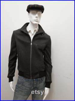 Patermo Men's Jacket in Hammered Leather, Brown, high quality craftsmanship