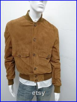 Patermo Uomo jacket in suede leather, color Whiskey, handmade high quality