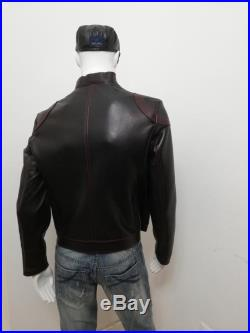 Patermo man jacket in leather, black with red interior, high quality craftsmanship, exclusive exclusive garment.