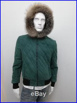 Patermo men Jacket, Quilted Nubuck leather, Green, Hood with fox fur, high quality handmade