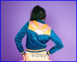Peacock Rising Sun bomber Jacket Quilted 70s style satin fall Jacket 1970s sunburst teal turquoise blue with mustard coral mauve
