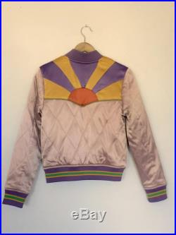 Pink Rising Sun Jacket Mauve Quilted 70s style satin bomber Jacket lightweight gold and purple seventies jacket 80s