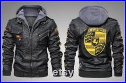 Porsche Leather Hoodie Jacket For Vehicle Fans And Enthusiasts With Machine Engines-JacketLJC75