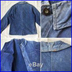 RARE 1930s FRENCH Indigo Cotton Work Chore Jacket Vintage 30s 40s Early 1900s Rugged Workwear Fade Patina