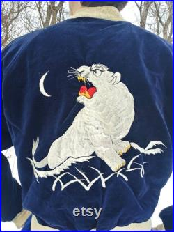 RARE 1950s authentic Korean War souvenir jacket from Japan, excellent condition. Has a tiger and eagle design, white satin and navy velvet