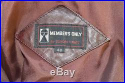 RARE STYLE Member's Only Brown Leather Jacket circa 1980's size 40