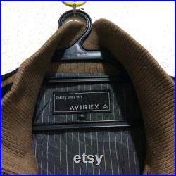 Rare Vintage AVIREX Suede Leather Jacket Vtg Avirex USA Embroidery Bomber Trucker Jacket Nice Color