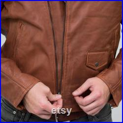 Real Leather Vintage Washed Brown Timber Mens Biker Jacket Cross Zip Retro Casual-Nevada Timber