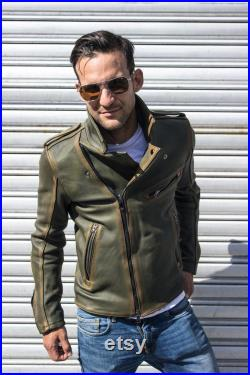 Rebel Vintage Leather Jacket Aged Napa Leather Distressed green exclusive perfect original caferacer handmade man unique classic custom race