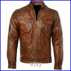 Retro Soft Edge Design Stretchy Men's Brown Real Leather Western Jacket Handmade