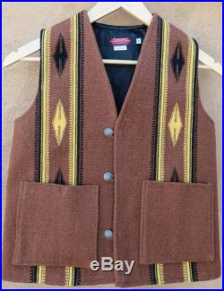 Rio Grande style Chimayo vest, handwoven wool using commercial dyed yarns, flat bottom with pockets, fully lined, Size 34, 4051942