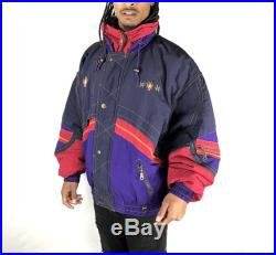 Rodeo Retro Ski Coat. Puffer Jacket In Black Red Purple and Navy Blue. Fits Size XL Extra Large